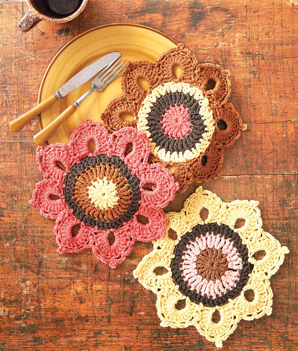 Quick and Simple Dish Cloth Crochet Pattern Mary Maxim Free Woodsy Sunflower Dishcloth Pattern