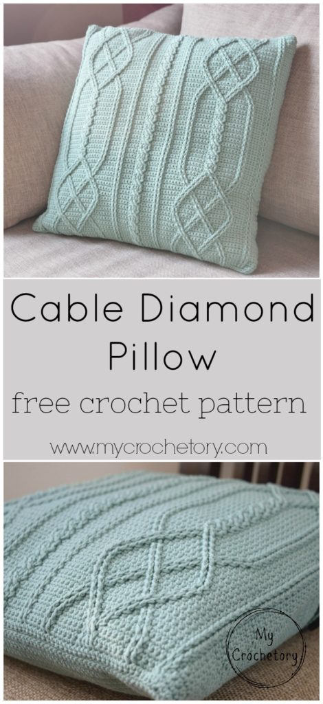 Cable Diamond Pillow - cable crochet free pattern by www.mycrochetory.com