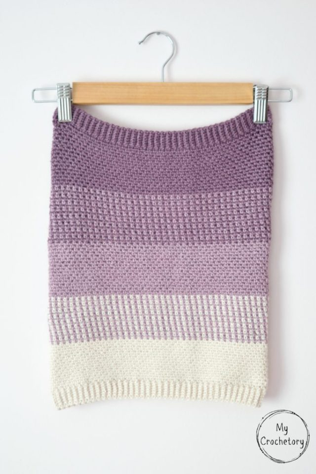 Ombre Moss Stitch Cowl Free Crochet Pattern With Chart