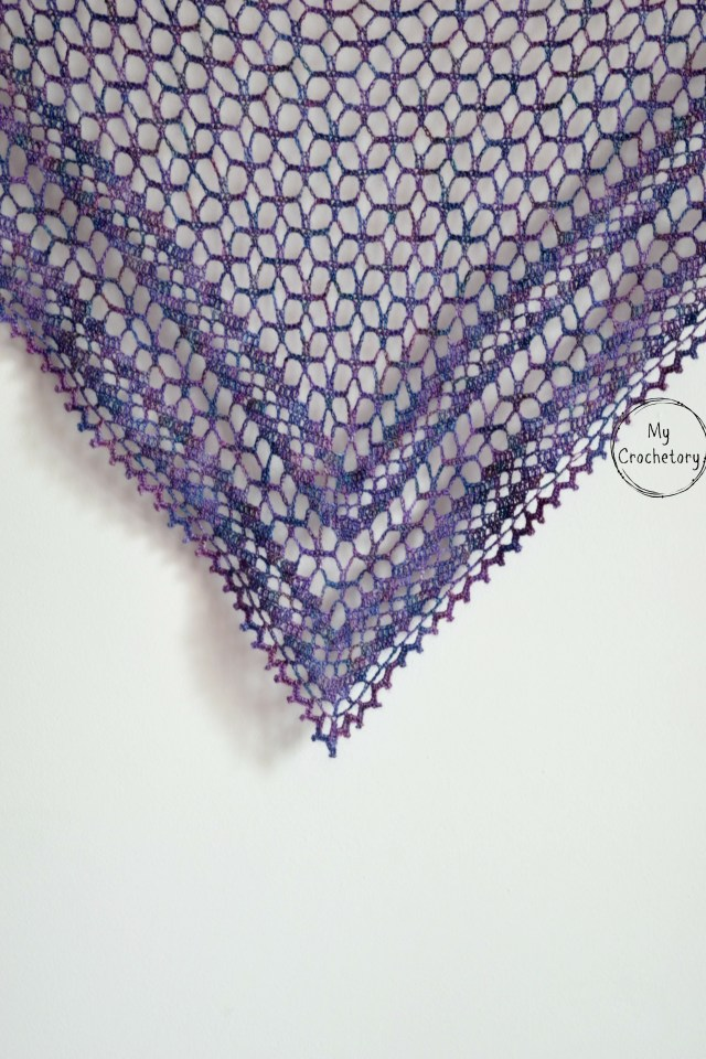 Nightfall Shawl - elegant crochet lace shawl. Free crochet pattern by www.mycrochetory.com