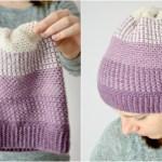 Ombre Moss Stitch Beanie – free crochet pattern