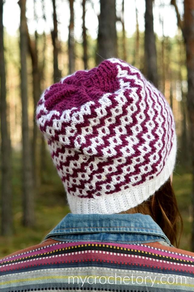 How to crochet Duende Mosaic Crochet Hat. Free crochet pattern by mycrochetory.com