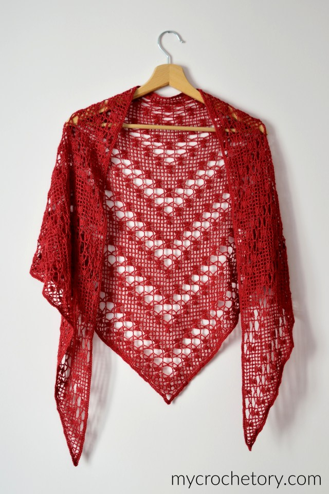 Sarin Lace Shawl - free crochet pattern for a lovely lightweight shawl on the blog mycrochetory.com
