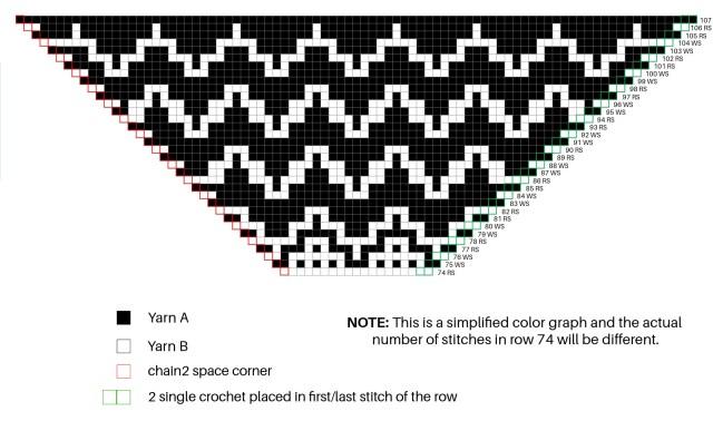 Namari Mosaic Triangle Scarf free crochet pattern. Mosaic crochet chart.
