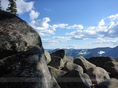 Dappled light on the boulders