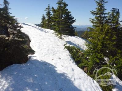 Snow near the saddle