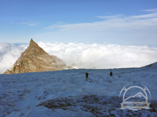 Two guides hauling ladders up to Ingraham Flats