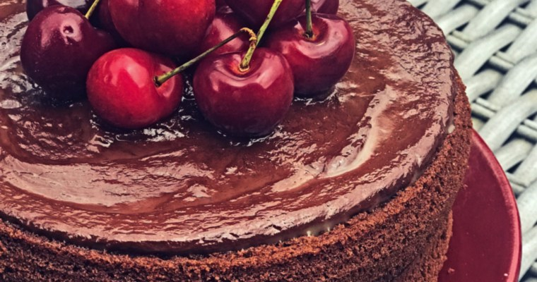 Chocolate Victoria Sponge Cake: Layered with Chocolate mousse and topped with chocolate ganache & cherries!
