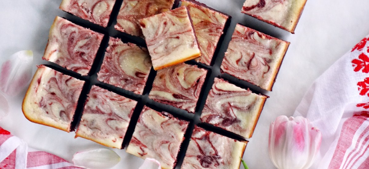 red velvet cheesecake swirl brownies for valentines