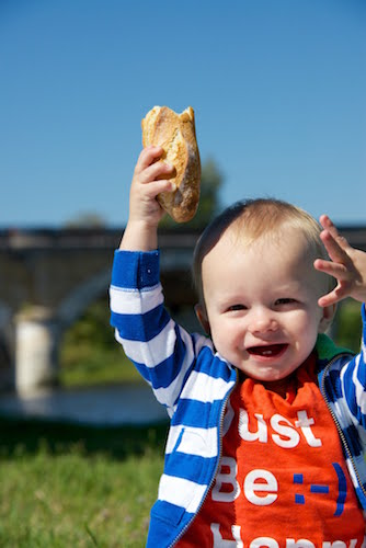 baby with baguette