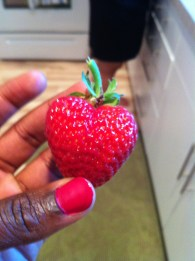 L left a ripe strawberry on her plant just for me! Soo good!