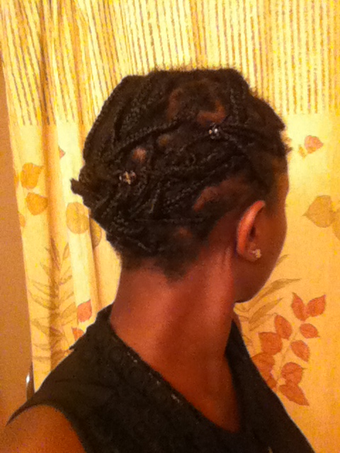 I started out with mini braids which I often pinned up. I switched them over to mini twists because I liked a fuller look but I didn't take a pic of the twists.