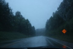 The rainy drive to the ferry.