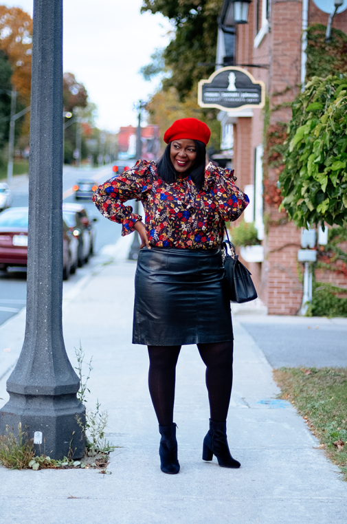 Fall outfit idea- leather skirt, long sleeve blouse and velvet ankle boots- Assa Cisse
