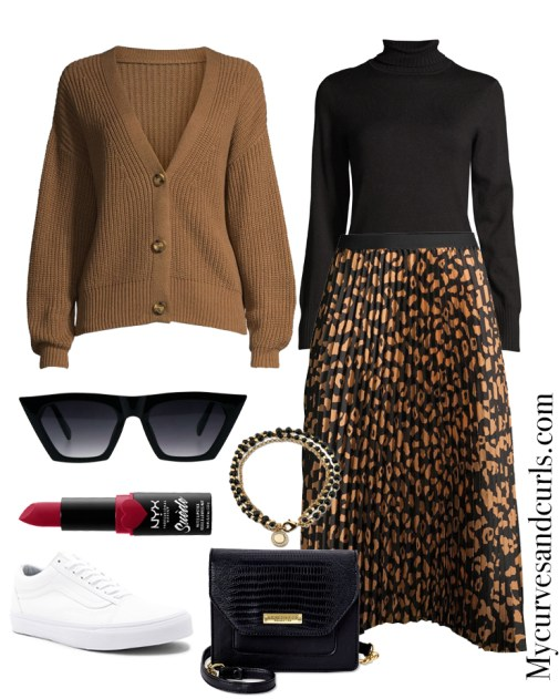 Sporty Chic: Pleated Skirt, Black Turtleneck, Cardigan and sneakers Winter Ready With Walmart Fashion
