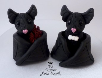 Black Bat Wedding Cake Topper