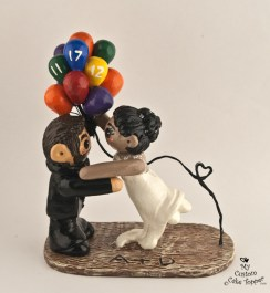 Up! Bride and Groom with Balloons Wedding Cake Topper