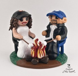 Bride and Groom Roasting Marshmallows over the Campfire Cake Topper