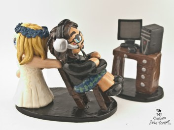 Bride Dragging Computer Groom in Kilt Cake Topper