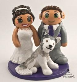 Bride and Groom with Pet Husky Dog
