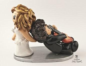 Bride Dragging Her Guitar Loving Groom
