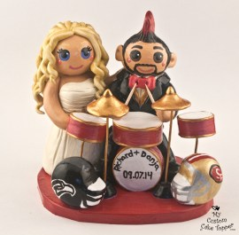 Bride and Groom Playing Drums Football Fans