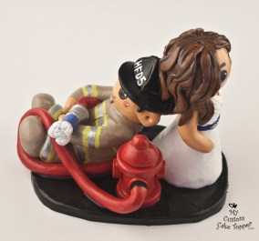 Bride And Groom Fireman Cake Topper