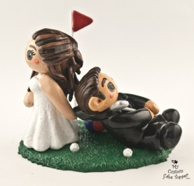 Bride And Groom Golfing Cake Topper