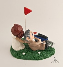 Bride Dragging Groom From Golfing Cake Topper