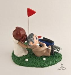 Bride Dragging Golfing Groom Cake Topper