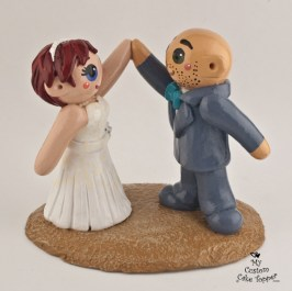 Bride And Groom High Fiving Cake Topper