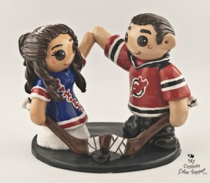 Bride And Groom Hockey Fans Rangers and Devils Cake Topper