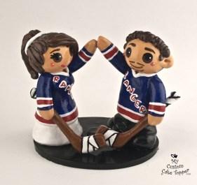 Bride And Groom Hockey Fans New York Rangers Cake Topper