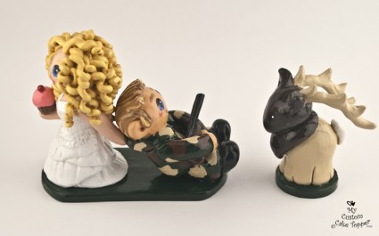 Bride Dragging Groom Hunting Elk Cake Topper