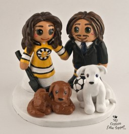 Hockey Bride And Soccer Groom with Dogs Cake Topper