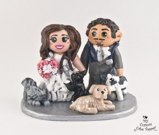 Bride And Groom Vets With Pets