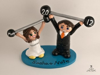Bride And Groom Lifting Weights Cake Topper