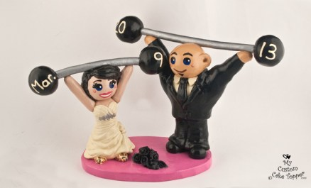 Bride And Groom Lifting Weights Wedding Cake Topper