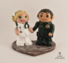 Bride and Groom in Work Uniforms Wedding Cake Topper