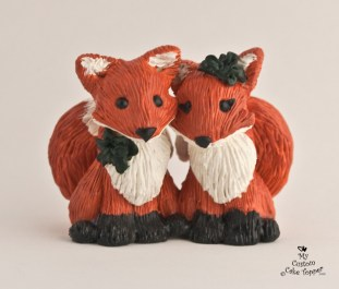 Cute Fox Couple Cake Topper
