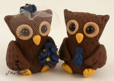 Cute Owls Wedding Cake Topper