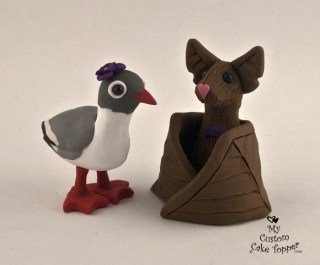 Sea Gull And Bat Cake Topper