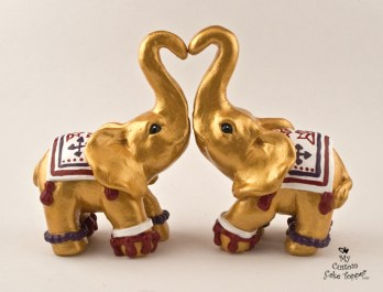 Gold Decorated Elephants Cake Topper