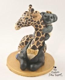 Giraffe And Koala Wedding Cake Topper