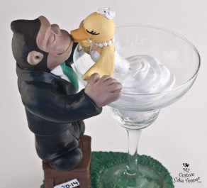 Gorilla And Duck In Margarita Glass Cake Topper