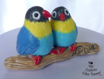 Realistic Love Birds on a Branch Wedding Cake Topper