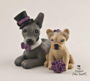 Custom Dogs Great Dane and Bull Dog Cake Topper
