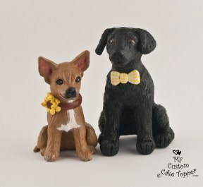Custom Chihuahua And Black Lab Cake Topper