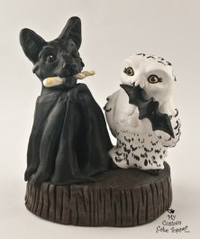 Bat and Owl Wedding Cake Topper