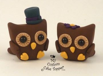 Cute Owls Wedding Cake Topper